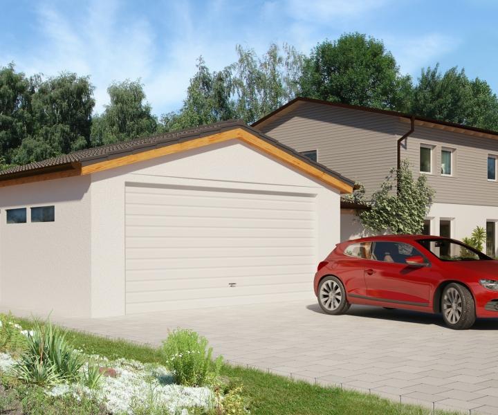 Garage Typ S2 - Gartenstadt 15° 6,41 m breit, 6,41 m lang mit Ziegeleindeckung